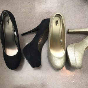 Two pairs of mossimo platform pumps, size 9 & 9.5